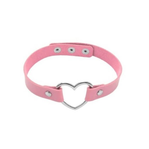 Leather Heart Choker Collar Pink